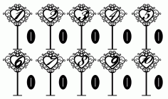 Freestanding Table Stand Numbers CDR File