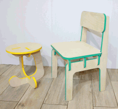 Furniture Children Stool and Highchair Free DXF File