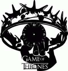 Game Of Thrones Wall Clock Template Laser Cut CDR File
