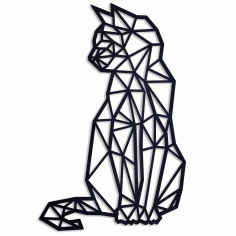 Geometric Cat Wall Art Laser Cut Free CDR File
