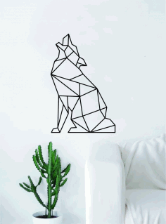 Geometric Wolf Howling Animal Wall Decor Art Laser Cut DXF File