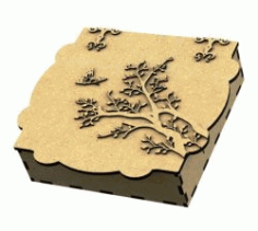 Gift Wooden Box Shaped Apricot Tree Laser Cut CNC DXF Vectors File