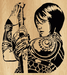 Girl with A Sword Wall Art Decor Laser Cut Free CDR File