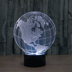 Globe Illusion Lamp CNC Laser Engraving Free Vector CDR File