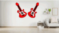 Guitar Wall Art Laser Cut Design CDR File