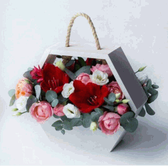 Hanging Flower Basket Valentines Day Decor Hexahedron Flower Box Laser Cut CDR File