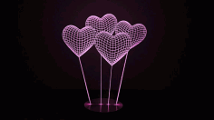 Heart 3d Illusion Lamp Free CDR Vectors File