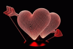 Heart Illusion Lamp CNC Laser Cutting Free CDR Vectors File