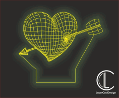 Heart LED Night Lamp Vector File Free CDR File