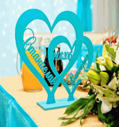 Heart on Stand Laser Cut DXF File