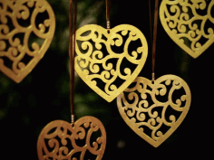 Heart Pendant Valentines Day Decor Laser Cut CDR File