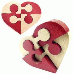 Heart Puzzle Laser Cut CDR File
