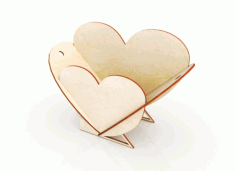 Heart Shape Flower Basket Template 3mm Laser Cut CDR File
