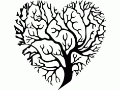 Heart Shaped Tree Silhouette DXF File