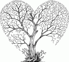 Heart Tree T-shirt Print File Free CDR File