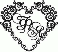 Heart Wedding Frame for Laser Cut CNC DXF File