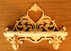 Heart Wooden Wall Shelf CDR File