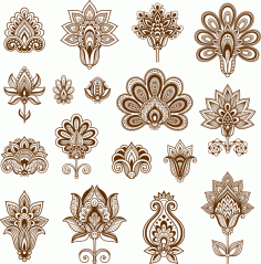 Henna Set Of Ornamental Stylized Flowers Free CDR Vectors File