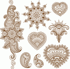 Henna Tattoo Flower Template Mehndi Style Free CDR Vectors File