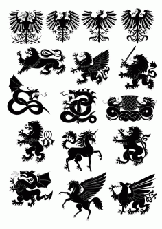 Heraldry animals vector set free CDR Vectors File