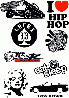 Hip Hop Stickers Car Vector Pack Free CDR Vectors File