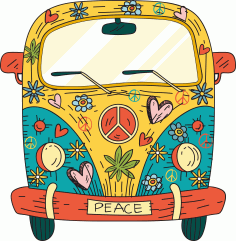 Hippie Van T-Shirt Design Free CDR Vectors File