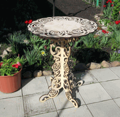 Home Decoration Ornamental Round Table Laser Cut DXF File