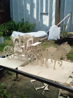 Horse Drawn Carriage 3mm Laser Cut Free CDR File