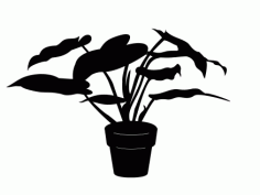 House Plant Silhouette Free DXF Vectors File