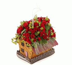 House Shaped Flower Box Valentines Day Decorations Laser Cut CDR File