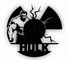Hulk Wall Clock CNC Laser Cutting Free Vector CDR File