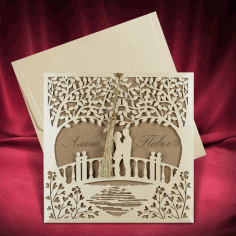 Invitation Card Couple Standing On Bridge Design Template Laser Cut CDR File