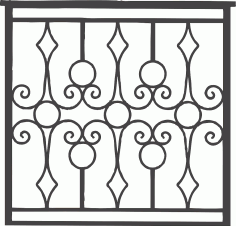 Iron Grille Gate Free DXF Vectors File