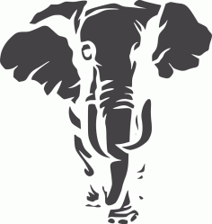 Jungle Animal Elephant Stencil Laser Cut Design DXF File