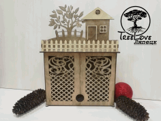 Key Cabinet Wooden Key Holder Box Wall Mounted Laser Cut CDR File
