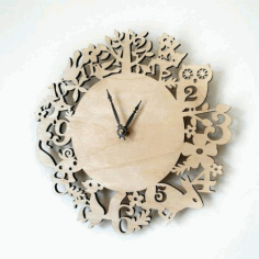 Kid Room Wall Clock Template Laser Cut Free Vector CDR File