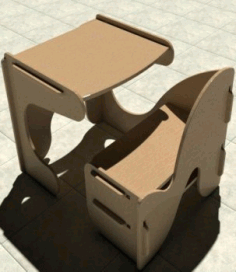 Kids Desk With Chair Study Desk Laser Cut CNC Router Plans Free CDR File