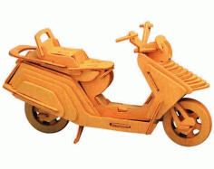 Lambretta Scooter Motorcycle 3D Puzzle Wooden Model Laser Cut Free CDR File