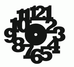 Large Bold Numbers Wall Clock Laser Cut CDR File