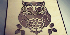 Laser Cut 3mm Wooden owl Box DXF File