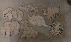 Laser Cut Animals Jigsaw Puzzle Toys Free Vector CDR File