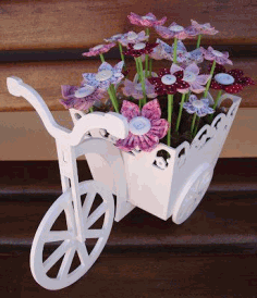 Laser Cut Bicycle with Flower Box 3mm 3D Puzzle CDR File