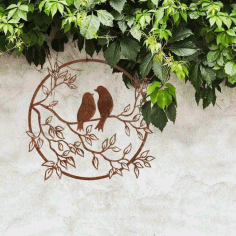 Laser Cut Birds on A Branch Decor Free Vector CDR File