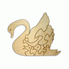 Laser Cut Blank Wooden Puzzle Swan CDR File