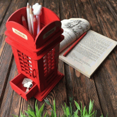 Laser Cut British Phone Booth Pencil Holder Free Vector CDR File