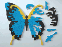 Laser Cut Butterfly Jigsaw Puzzle for Kids Template Free Vector CDR File