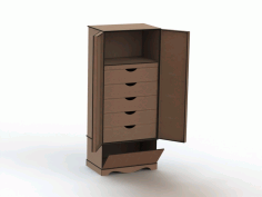 Laser Cut Cabinet with Drawers Free DXF Vectors File