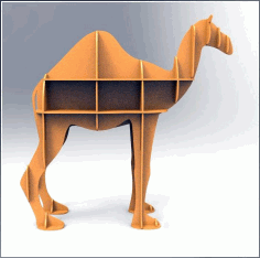 Laser Cut Camel Shelf Bookcase Display Storage Free CDR Vectors File
