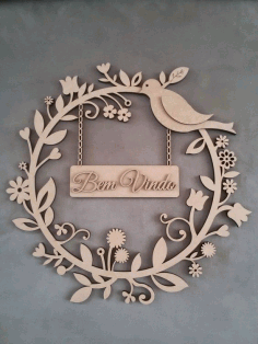 Laser Cut Car Decorative Plywood Wreath Bird Flowers Free Vector CDR File