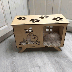 Laser Cut Cat House Template CDR File